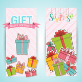 Colorful vintage gift postcard banners concept. Royalty Free Stock Image