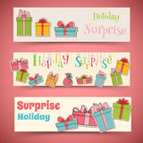 Colorful vintage gift postcard banners concept. Royalty Free Stock Images