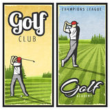 Colorful Vintage Golf Vertical Banners Stock Photos