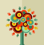 Colorful vintage hand tree circle Royalty Free Stock Image
