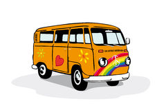 Colorful vintage hippie van Royalty Free Stock Image