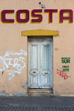 Colorful vintage house and doors with graffitis, Mendoza Royalty Free Stock Photography