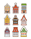 Colorful vintage houses isolated on white Royalty Free Stock Image