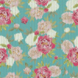 Colorful vintage knitted pattern with floral ornament useful as Royalty Free Stock Photo
