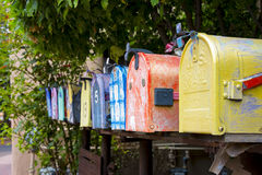 Colorful Vintage Mailboxes Stock Photos