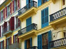 Colorful vintage mediterranean twonhouse facades Stock Photography