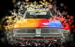 Colorful vintage muscle car - pixel bokeh effect Stock Photos