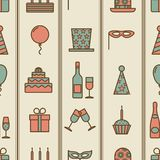 Colorful vintage party icons seamless texture Royalty Free Stock Image