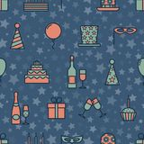 Colorful vintage party icons seamless texture with star seamless background. Cartoon style vector design Royalty Free Stock Image