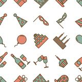 Colorful vintage party icons seamless texture on white background Stock Photography