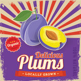 Colorful vintage Plums label poster stock illustration