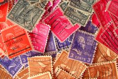 Colorful vintage postmarked stamps. In various denominations from 1 1/2 cents through 6 cents Royalty Free Stock Images