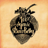 Colorful vintage print of the ornament in the silhouette of vegetarian berries. Sweet 100 percent organic strawberry Stock Photos