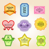 Colorful vintage and retro badges design with samp Stock Images