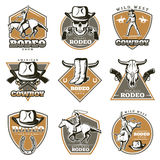 Colorful Vintage Rodeo Labels Set Stock Photography