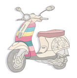Colorful vintage scooter. Stock Photo