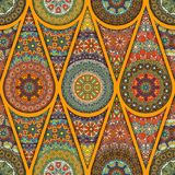 Seamless pattern. Vintage decorative elements. Hand drawn background. Islam, Arabic, Indian, ottoman motifs. Perfect for printing. Colorful vintage seamless Royalty Free Stock Photos