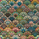Seamless pattern. Vintage decorative elements. Hand drawn background. Islam, Arabic, Indian, ottoman motifs. Perfect for printing. Colorful vintage seamless Stock Image