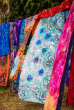 Colorful vintage shawls with floral and abstract patterns Royalty Free Stock Images