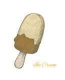 Colorful vintage sketchy style illustration of a chocolate cream Royalty Free Stock Image