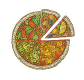 Colorful vintage sketchy style illustration of a pizza. Royalty Free Stock Images