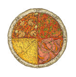 Colorful vintage sketchy style illustration of a pizza. Royalty Free Stock Photo