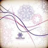 Colorful vintage snowflake swirls / Christmas card Royalty Free Stock Images