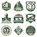 Colorful Vintage Sport Pub Emblems Set vector illustration