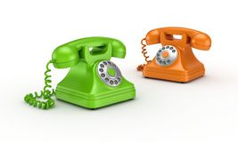 Colorful vintage telephones. Royalty Free Stock Photo