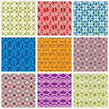 Colorful vintage tiles seamless patterns set. Royalty Free Stock Photography