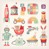 Colorful vintage toys. Colorful retro toys from the 60th in vintage colors Stock Images