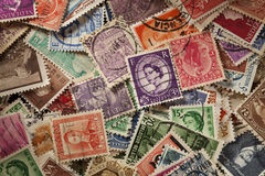Colorful Vintage Used Postage Stamps Stock Images