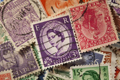 Colorful Vintage Used Postage Stamps Royalty Free Stock Images