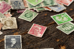 Colorful Vintage Used Postage Stamps Royalty Free Stock Photo