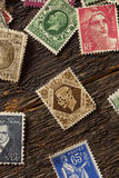 Colorful Vintage Used Postage Stamps Royalty Free Stock Image
