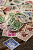Colorful Vintage Used Postage Stamps Stock Photos