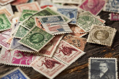 Colorful Vintage Used Postage Stamps Stock Image