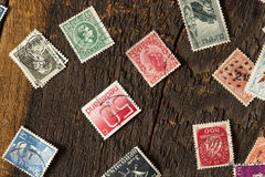 Colorful Vintage Used Postage Stamps Royalty Free Stock Photography