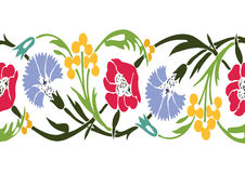 Colorful vintage wildflowers border floral background seamless v Stock Photo