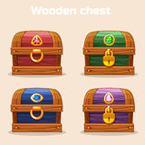 Colorful vintage wooden chest with diamonds. In vector stock illustration