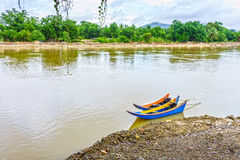 The colorful vintage wooden motorboats Royalty Free Stock Photography