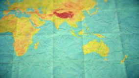 Colorful vintage world map - zoom in to Australia - blank version stock illustration