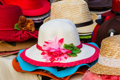 Colorful of vintage woven hat. Royalty Free Stock Photos