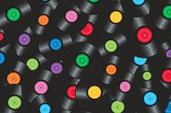 Colorful vinyl records background vector illustration Royalty Free Stock Photo