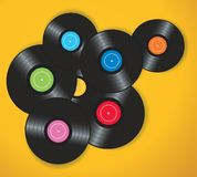 Colorful vinyl records background vector illustration Stock Photos