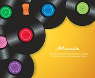 Colorful vinyl records with yellow background vector illustration Royalty Free Stock Photo