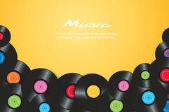 Colorful vinyl records with yellow background vector illustration.  royalty free illustration