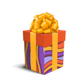 Colorful Violet and Orange Celebration Gift Box with Bow Isolate Royalty Free Stock Photos