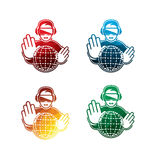 Colorful virtual reality headset icons on white background. isolated VR headset icons. eps8. On layers Royalty Free Stock Photography
