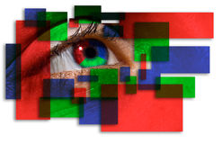 Colorful Vision. A metaphorical illustrated background with an eye with colorful blocks surrounding it depicting a colorful vision, isolated on a white Stock Photo